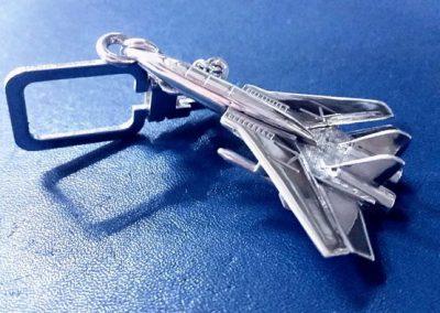 Llavero de plata de 925ml,(caza de combate) / Encargo especial hecho a mano