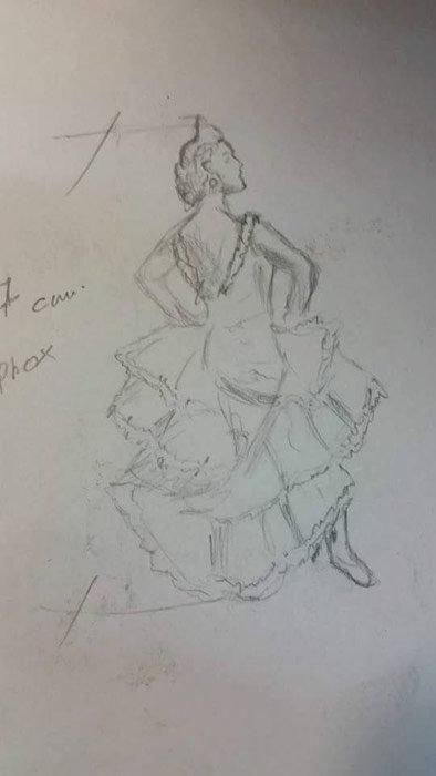 Diseño previo de la flamenca inspirada en una foto